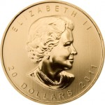 """Obverse"" of Canadian Gold Maple Leaf"