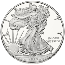 """Front, or """"obverse"""", side of American Silver Eagle"""